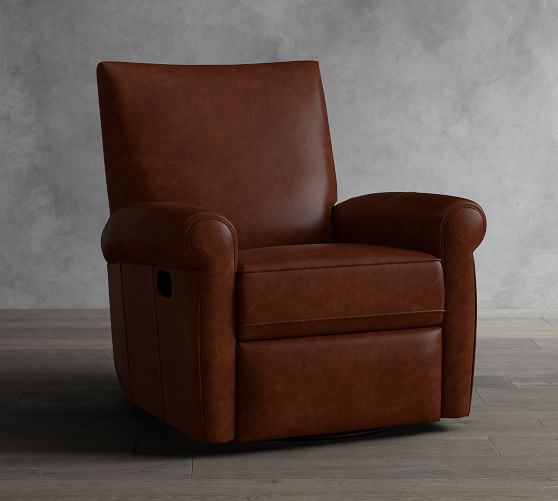 Grayson Leather Swivel Recliner With Images Recliner Leather