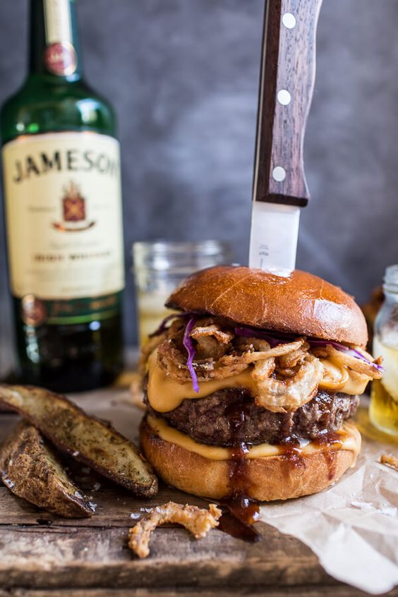 A different take on an American classic: The Jameson Whiskey Blue Cheese Burger with Guinness Cheese Sauce + Crispy Onions | halfbakedharvest.com @hbharvest: