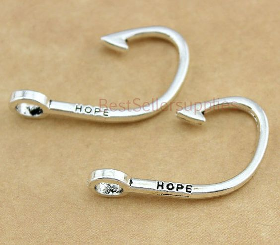 10 pcs fish hook fish hook charm hook hook charm for Fish hook charm