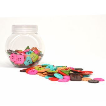Hobbycraft Button Jar Subdued Colour Shapes Assorted