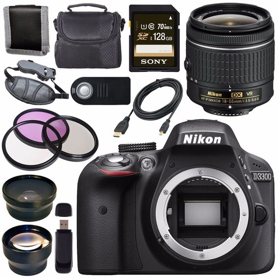 Nikon D3300 DSLR Camera with AF-P 18-55mm VR Lens (Black) + Sony 128GB SDXC Card + Carrying Case Bundle. The PixelConnection Is an Authorized Nikon USA Dealer. Nikon D3300 DSLR Camera with AF-P 18-55mm VR Lens (Black). 55mm 3 Piece Filter Kit. Padded Carrying Case w/Strap. Universal Wireless Remote Shutter Release Sony 128GB UHS-I SDXC Memory Card (Class 10).