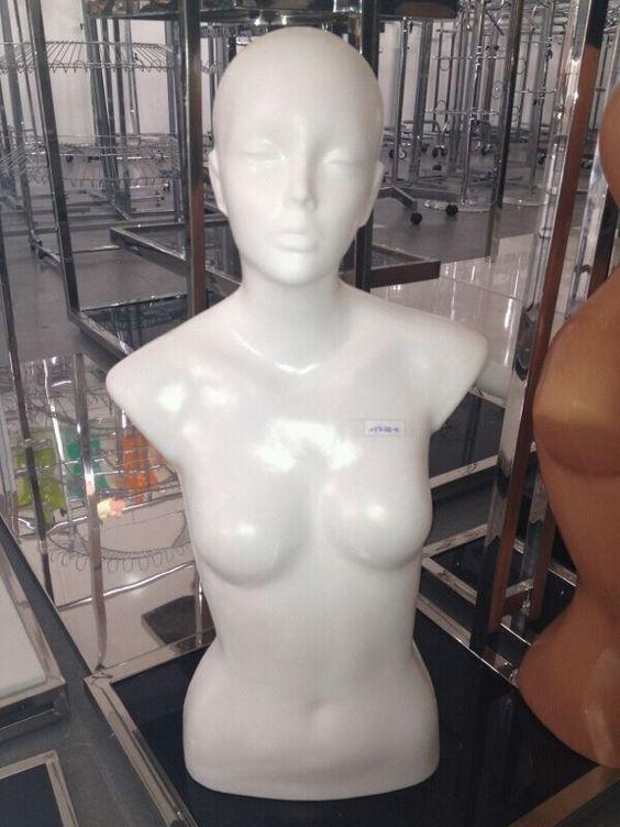 Bustos PVC mujer y hombre / Bustos led : MPKD6-B BUSTO FEMENINO BLANCO CON CABEZA-PLASTICO