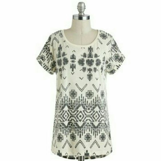 ModCloth Geometric Top Ivory white top with geometric print. Rolled up, pinned sleeves. Fits long and oversized. Great over a pair of leggings or skinny jeans. Like new condition. Sorry, no trades!  ***PRICE IS FIRM*** ModCloth Tops