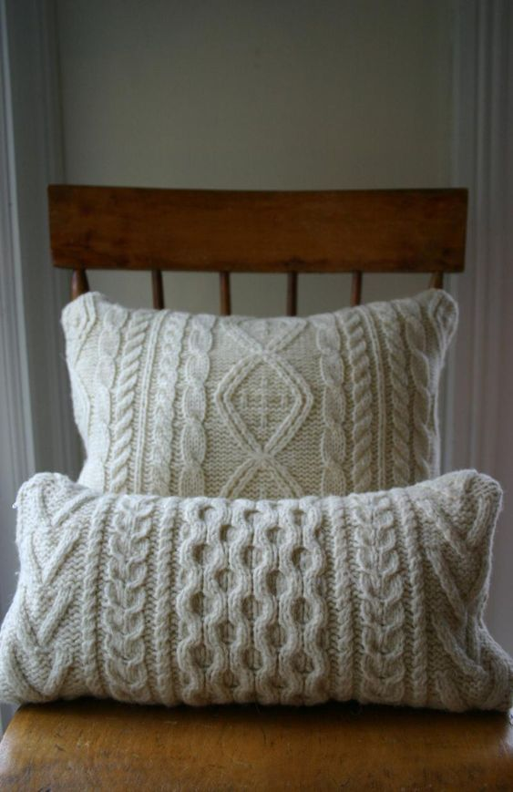 aran knit cushions - great way to practise patterns!