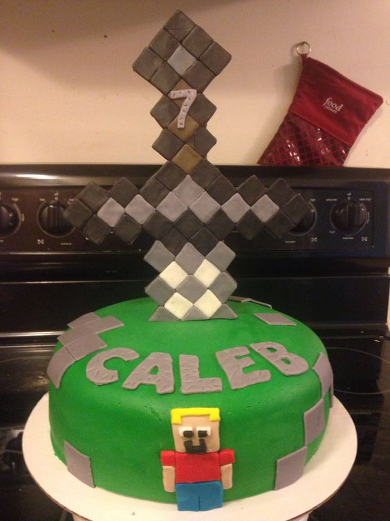 Minecraft Cake with large fondant sword topper | Our ...