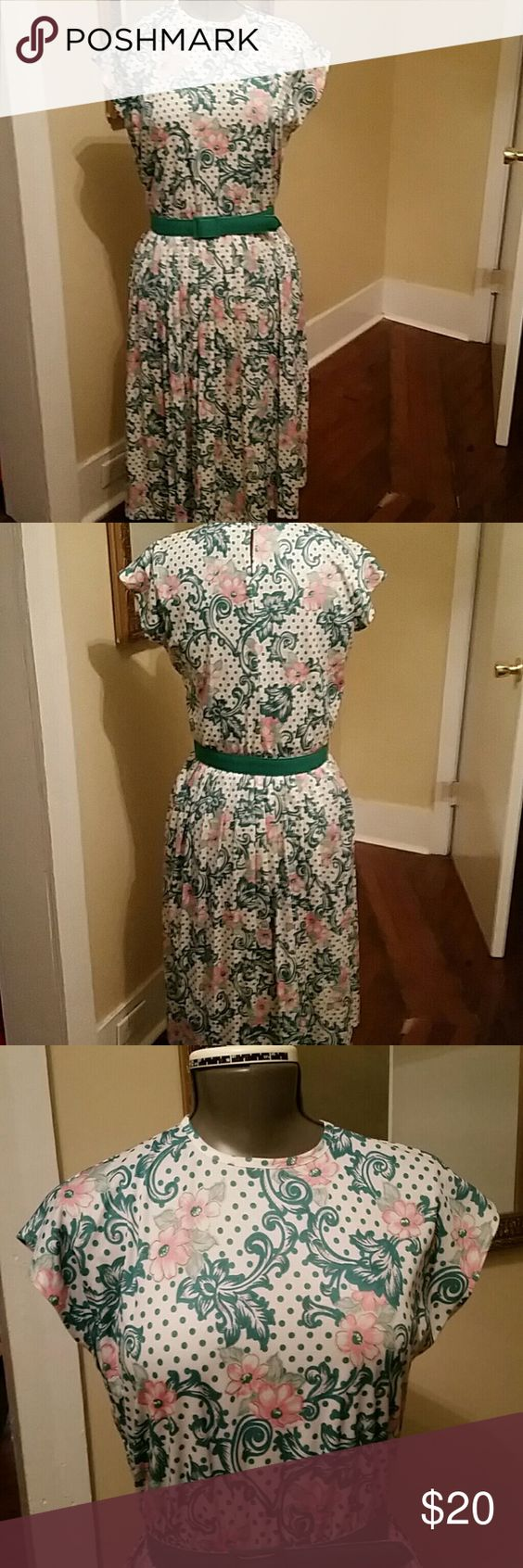 VINTAGE dress A floral and polka dot,  pink, green, and white vintage short sleeve dress. vintage  Dresses Midi