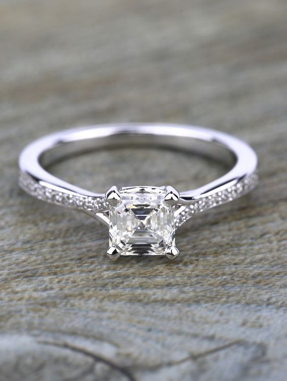 This Split Shank Micropave Asscher Diamond Engagement Ring in White Gold features a 1.24 carat diamond! Would you say YES???