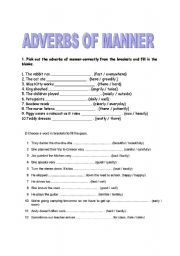 English worksheet: adverbs of manner | Proyectos que ...