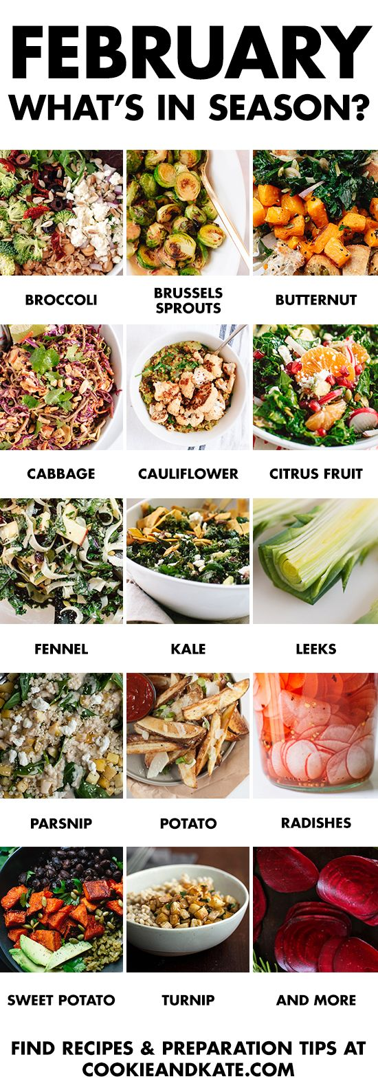 Eat seasonally with this guide to February fruits and vegetables. Find recipes and preparation tips at cookieandkate.com: