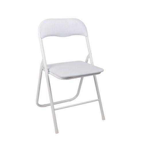 Simple Mais Pratique Cette Chaise Blanche Est A La Fois Pliante Et Rembourree L Alliance De L Utile Et De L Agreable Chaise Pliante Chaise Chaises Blanches
