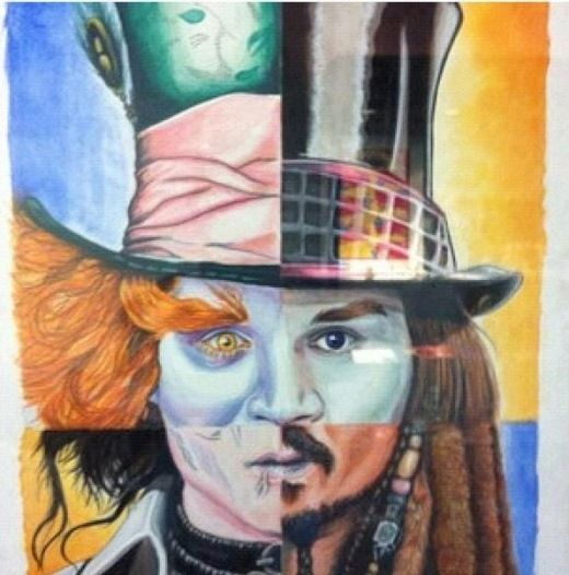 The Mad Hatter + Willy Wonka + Edward Scissor Hands + Jack Sparrow = Johnny Depp
