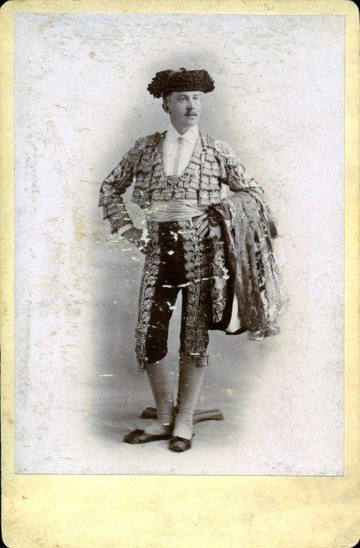 Toreador or matador Agustín Lehne in his suit of lights, Durango, Mexico, 1895.