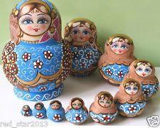 10pcs Russian Nesting Dolls Blue Beautiful Nesting Wooden Matryoshka Toy Gift