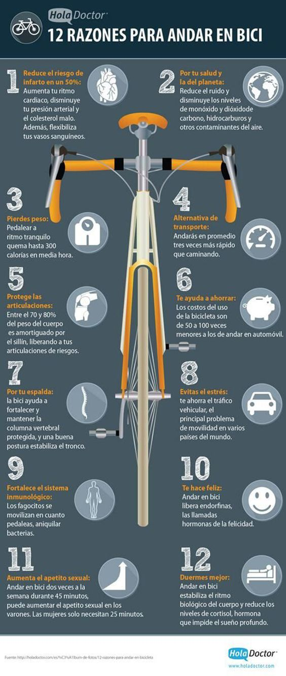 12 razones para desplazarse en bicicleta. #salud #deporte #infografia
