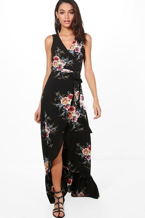 Floral Wrap Ruffle Hem Maxi Dress | Boohoo | Dresses, White