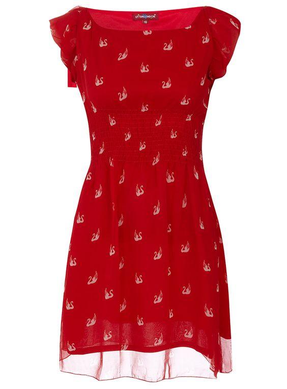 Swan printed dress