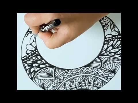 Zentangle Pattern Drawing Crescent Moon رسم زنتانجل رسم قمر Youtube Washer Necklace Diamond Necklace Art Drawings