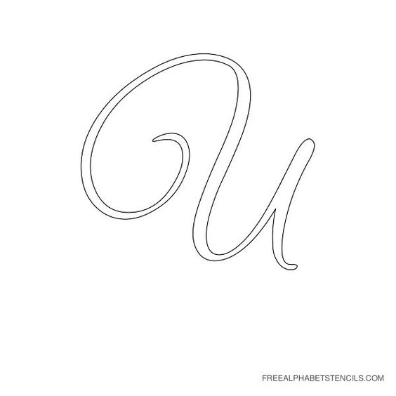 Cursive alphabet printable stencils and letters on pinterest for Large cursive letter stencils