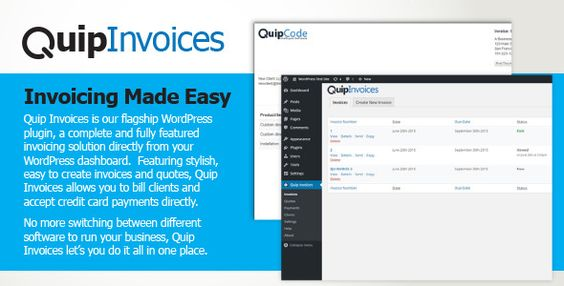 Quip Invoices - Fully Featured WordPress Invoicing (eCommerce - email invoices