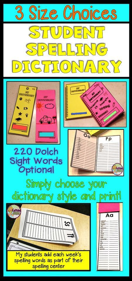 Student dictionary for spelling with dolch sight words for Forward dictionary