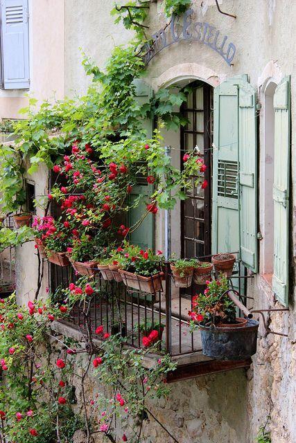 Balcony gardening ~ Moustiers-Ste-Marie, France: