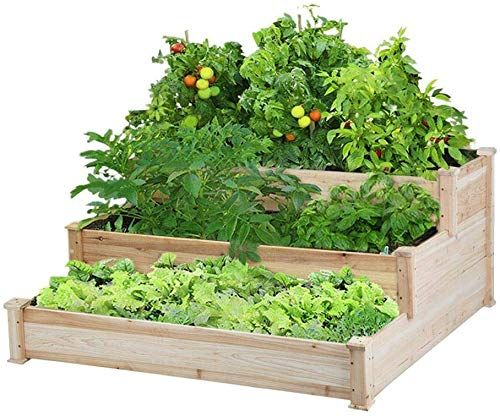 Amazing Offer On Yaheetech 3 Tier Raised Garden Bed Wooden Elevated Garden Bed Kit Vegetables Outdoor Indoor Solid Wood 49 X 49 X 21 9in Online Topusashoppin In 2020 Raised Garden