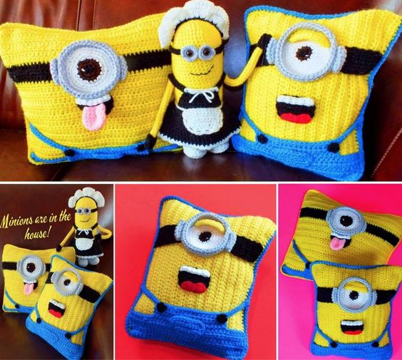Minion Crochet Projects - Cushions and a granny square afghan