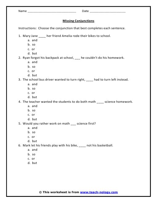5th Grade English Worksheets With Answers: Conjunction Worksheet (6 problems with answer key)   TWS    ,