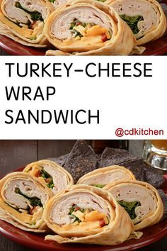 Made with ranch salad dressing, flour tortilla, American cheese, turkey, lettuce, tomato, broccoli or pepper | CDKitchen.com