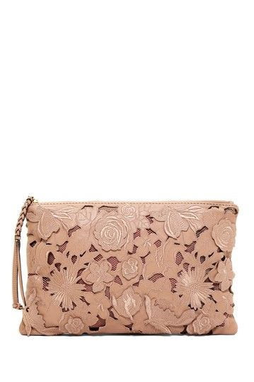 Valentino Leather Floral Lace Small Clutch