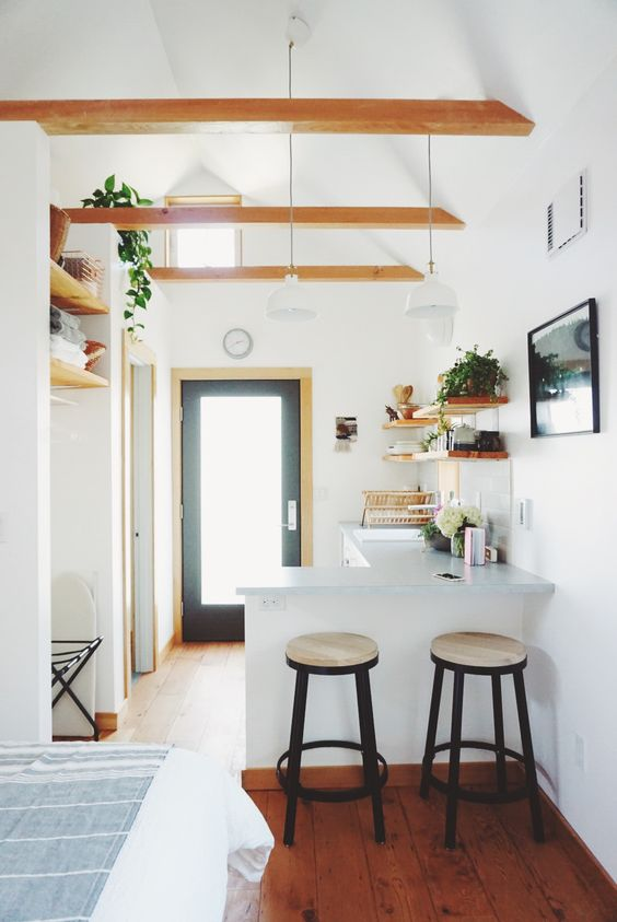 Exposed Beams In The Portland Tiny House Tiny House