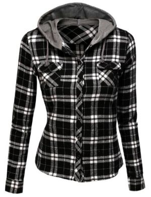 Doublju Contrast Hood Flannel Shirt With Chest Pockets BLACKWHITE