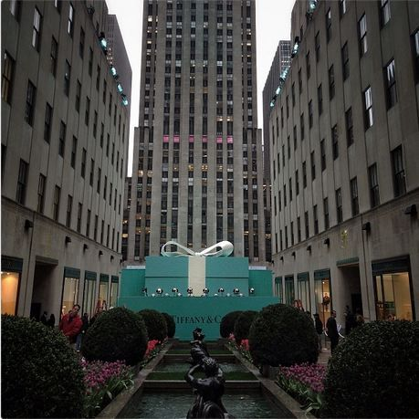 Preparations for Tiffany's Celebration of the 2013 Tiffany Blue Book Ball - Rockfeller Center.