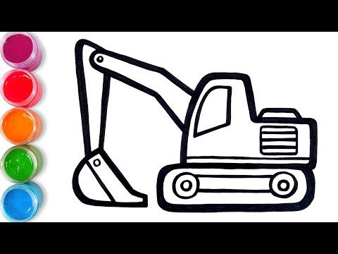 Let S Learn To Draw Excavator And Coloring For Kids Tobiart Youtube In 2020 Coloring For Kids Youtube Learn To Draw