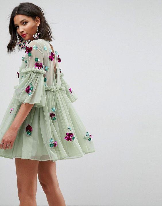 ASOS Embellished Mesh Fluted Sleeve Smock Mini Dress - Green