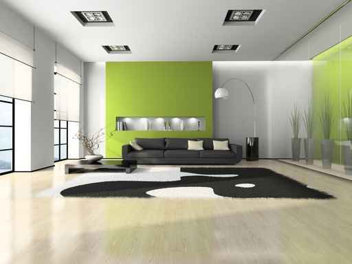 Home interior green wall