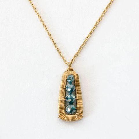 14k gold necklace with Teal Blue Diamonds  - Dana Kellin