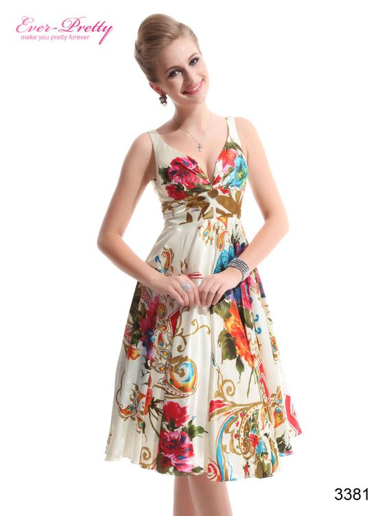 Double V-neck Empire Line Floral Printed Satin Cocktail Dress ...