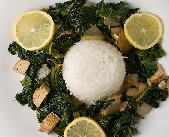 Jarmuż z tofu i basmati