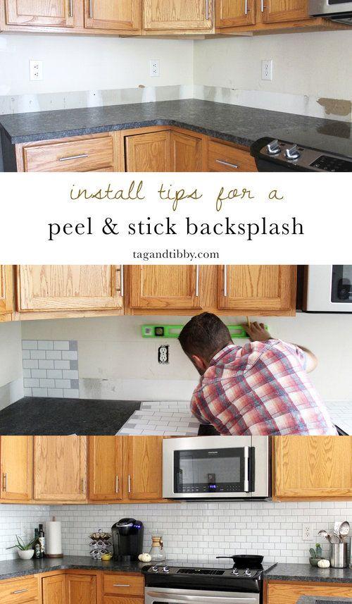 New Peel And Stick Subway Tile Backsplash Tag Tibby Design Diy Tile Backsplash Easy Kitchen Backsplash Diy Backsplash