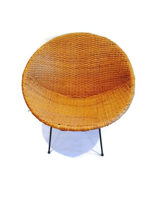 Reserved for tara mid century rattan chair hoop chair for Large wicker moon chair