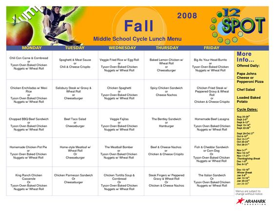 Cycle Menu Template | More Info Middle School Cycle Lunch Menu ...