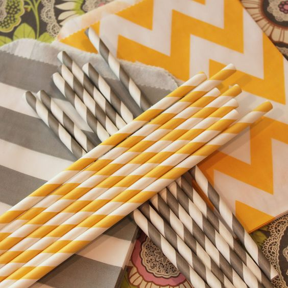 Paper Staws assortment of Grey and Yellow....♥