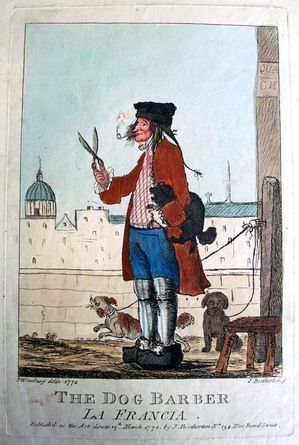 James Bretherton (active 1770-1781) after a design by Henry William Bunbury (1750-1811), The Dog Barber. La Francia, 1772. Etching with added color. Graphic Arts GC021. Gift of Dickson Q. Brown, Class of 1895.