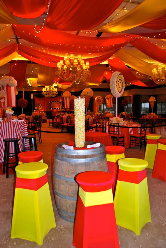 Carnival Theme Wedding Mitzvah Popcorn Centerpieces