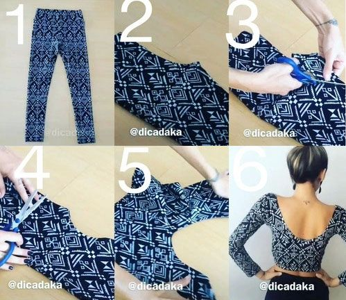 Diy transformer un legging en crop top patrons mode et tuto pinterest - Recyclage de vetement ...