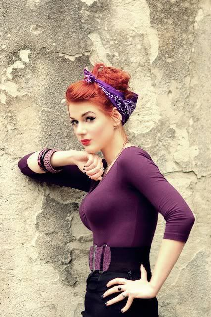 OH MY.... this so makes me want to go back to red hair. Whoever says red-heads shouldn't wear purple, look at this and hush your face.