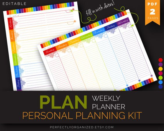 Diy Rainbow Calendar : Weekly planner to do list schedule