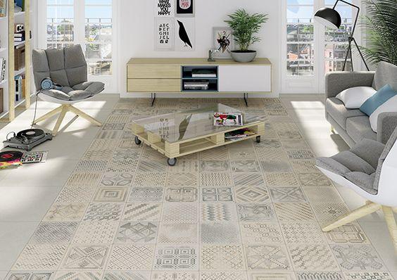 Pavimentos cerámicos que reproducen alfombras orientales y trabajos de patchwork