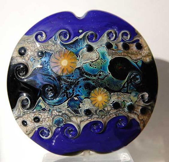 Waves of Life   Large Lentil Focal bead handmade by Beadfairy, $34.90